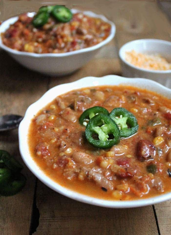 It's packed with chicken, white beans, jalapenos, corn, and more, so ...