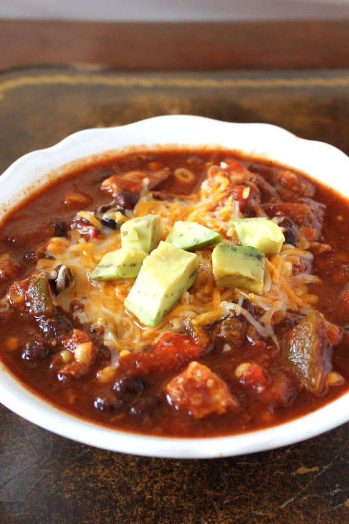 Skinny Crockpot Chicken Chili