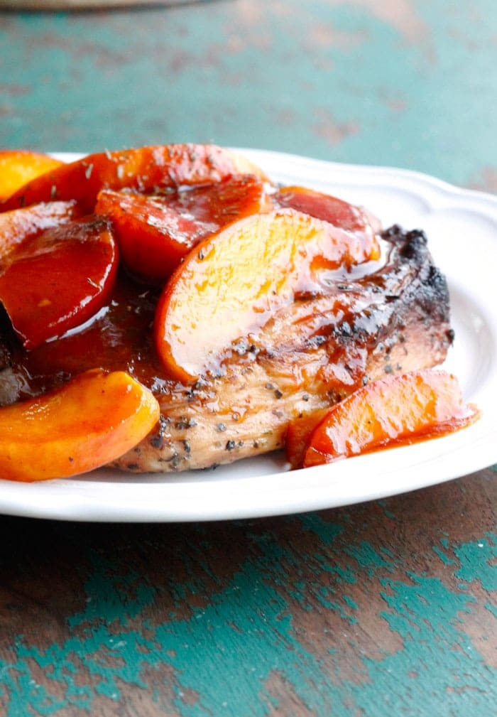 Grilled Pork Chops with Easy Peach Barbecue Sauce