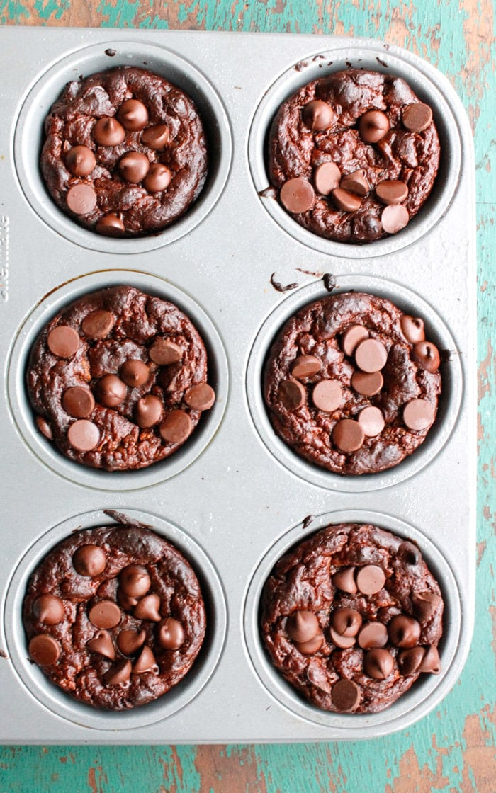 Flourless Double Chocolate Zucchini Muffins