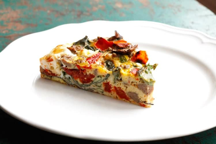 Now back to this Garden Vegetable, Sausage & Feta Crustless Quiche.
