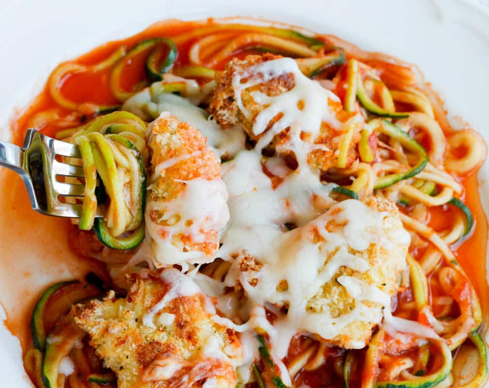 Oven-Baked Chicken Parmesan Bites over Zoodles-5