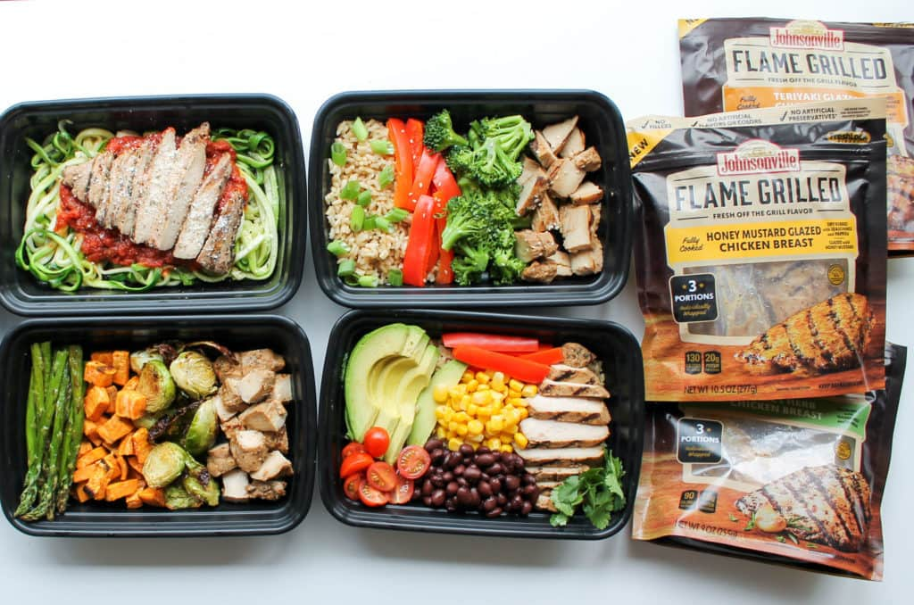 Easy chicken meal prep bowls 5 ways smile sandwich for Different meals to make with chicken