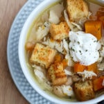 Chicken Sweet Potato Soup with Cornbread Croutons