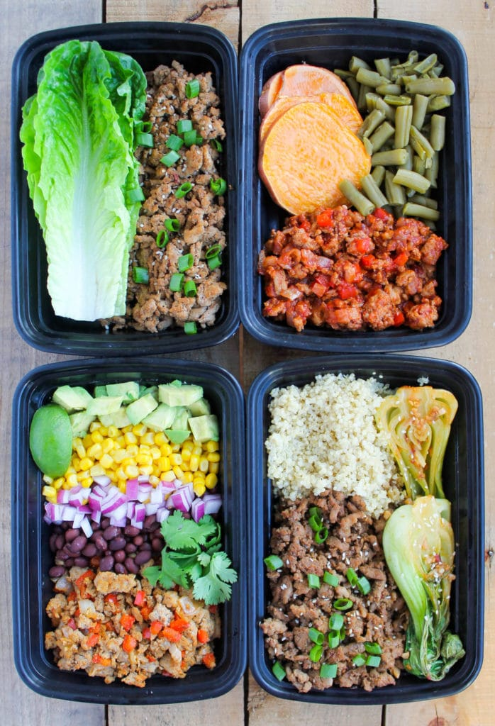 Easy ground turkey meal prep bowls 4 ways smile sandwich for Different meal ideas for ground beef