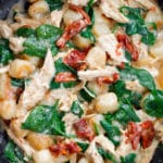 One Skillet Asiago Chicken Cauliflower Gnocchi with Sun Dried Tomatoes and Spinach