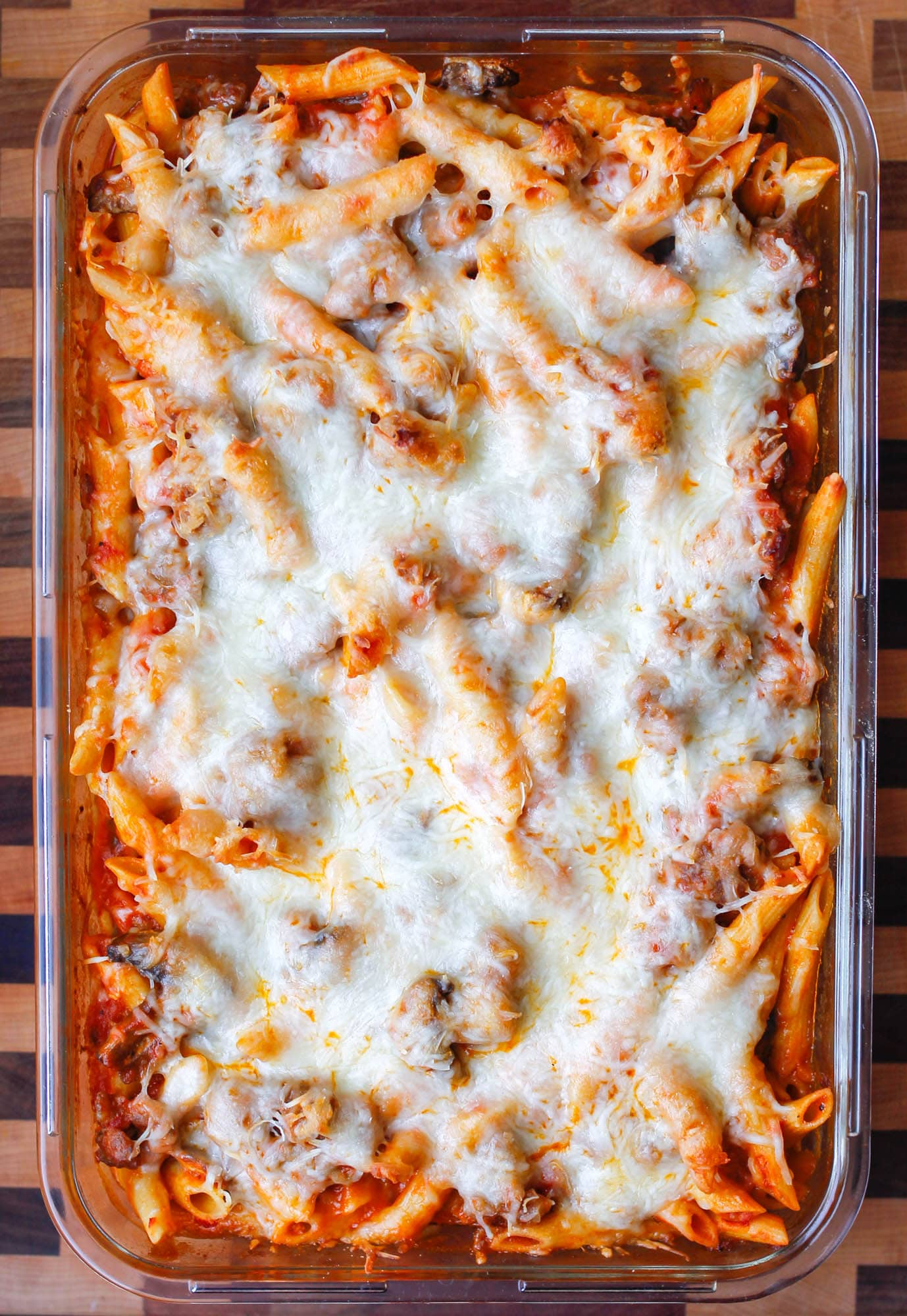 Gluten-Free Pasta Bake with Sausage and Mushrooms